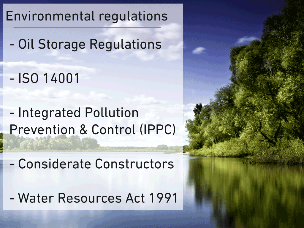 Regulatory requirements of a positive environment