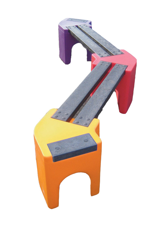 Multicoloured Zig-Zag Benches - 4 Person Bench