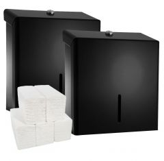 Black Metal Dispenser (Pack of 2) & Paper Hand Towel Bundle