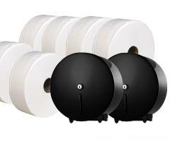 Black Jumbo Dispenser (Pack of 2) & Toilet Roll Bundle