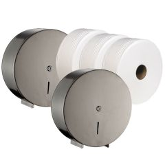 Brushed Jumbo Dispenser (Pack of 2) & Toilet Roll Bundle