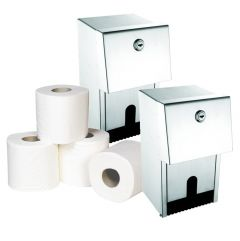 Brushed Dual Roll Dispenser (Pack of 2) & Toilet Roll Bundle