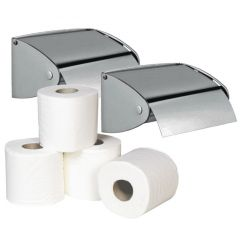 Brushed Single Flap Roll Holder (Pack of 2) & Toilet Roll Bundle