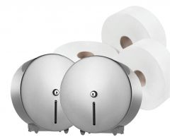 Silver Mini Jumbo Dispenser (Pack of 2) & Toilet Roll Bundle
