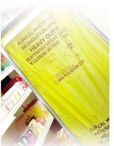 Yellow Clinical Waste Bin Sacks Case of 100