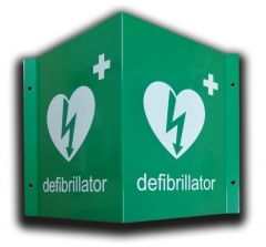 3D Defibrillator Location Wall Sign in Green