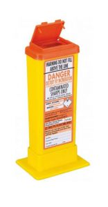 Orange Lid Sharps Bin with Needle Remover 0.5 Litre (Case of 60)