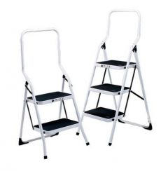 White Folding Step Ladder With 2 or 3 Treads