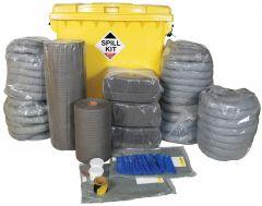 General Purpose 1100L Spill Kit, Wheeled Bin, Plug Rug Drain Cover