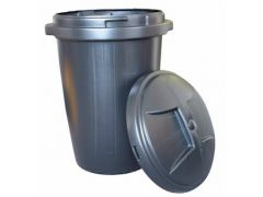 Dust Bin - 80 Ltr - Black with clip on lid
