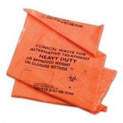 Orange Clinical Waste Bin Sacks. Roll of 50 Bags