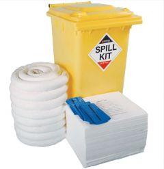 240 Litre Oil & Fuel Spill Kit in Yellow Wheeled Bin