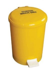 Yellow Pedal Bin Plastic 12 Litre with Plastic Liner