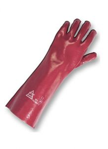 PVC Red Gauntlet Gloves 45cm Mens