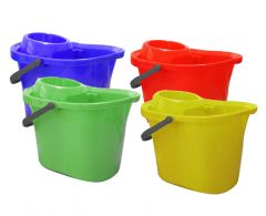 Durable Plastic Mop Bucket with White Sieve Wringer in Four Colours.