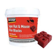 Super Rat & Mouse Killer Wax Blocks 15x20g Blocks per Tub