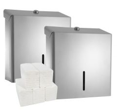Silver Metal Dispenser (Pack of 2) & Paper Towel Bundle