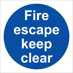 Fire Escape Keep Clear Sign Rigid