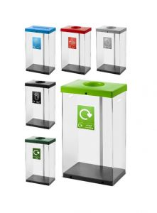 60L Clear Body Recycle Bin (Various Colours)