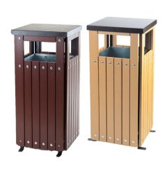 Trojan 36 Litre Square Wood Effect Outdoor Bin with Liner