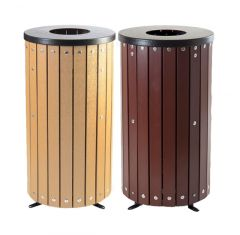 Trojan 40L Open Top Wood Effect Outdoor Bin with Liner