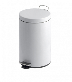 12 Litre Pedal Bin with Steel Body & Lid, Plastic Liner in White