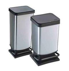 Paso Plastic Pedal Bin Metalic Silver (Various sizes)