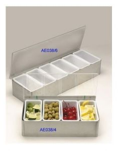 Condiment Holder with 6 Compartments in Stainless Steel