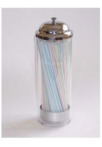Traditional Straw Dispenser in Plastic and Chrome