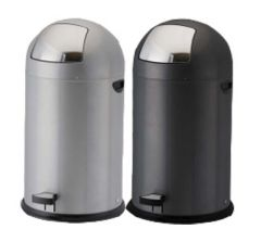 Pedal Operated Push Bin in Silver Grey - 52 Litre