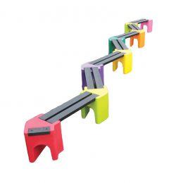 Multicoloured Zig-Zag Benches - 14 Person Bench