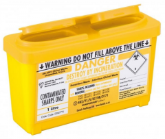 Yellow Lid Sharps Bin 1 Litre (Case of 30)