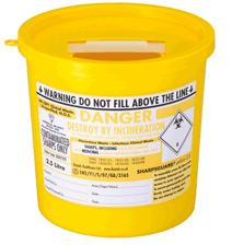 Yellow Lid Sharps Bin 2.5 Litre (Case of 48)