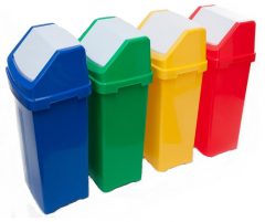 Trojan 50 Litre Colourful Flip Bins with Recycle Stickers