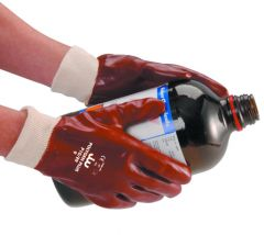 Red PVC Knitwrist Gloves Size 10 XL