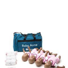 Baby Anne CPR Infant Training Manikin in Dark Skin Quad Pack