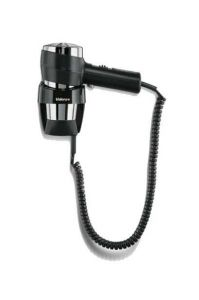 Valera Action Wall Mounted Hair Dryer in Black and Chrome