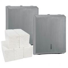 Brushed Dispenser (Pack of 2) & Paper Hand Towel Bundle