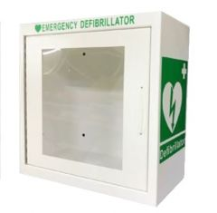 White Wall mounted Indoor Defibrillator Cabinet Alarmed
