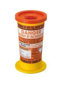 Orange Lid Sharps Mini Bin 0.6 Litre (Case of 24)