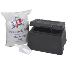 Black Mini Grit Bin 30 Litre (Includes 25g of Rock Salt and Scoop)