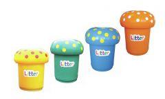 Mushroom Bin 90 Litre with Litter Letters (Various Colours)