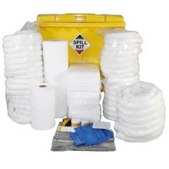 1100 Litre Oil & Fuel Spill Kit in Large Wheeled Bin For Hydrocarbons