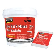 Super Rat & Mouse Killer Wholegrain Sachets 6x25g Sachets per Tub