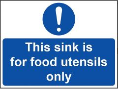 'This Sink for Food Utensils Only' Sign - Vinyl 20 x 15 cm
