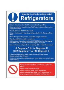 Refrigerators Guidance Notice Sign - Vinyl 15 x 20 cm