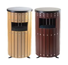 Trojan 33L Round Wood Effect Outdoor Bin with Liner