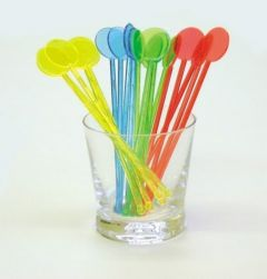 "7"" Disc Head Stirrers in Mixed Neon Colours (Case of 5000)"
