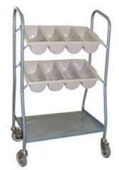 2 Tier Cutlery Box Trolley with Wheels
