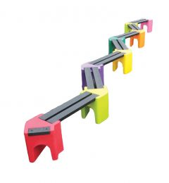 Multicoloured Zig-Zag Benches (14 Persons)